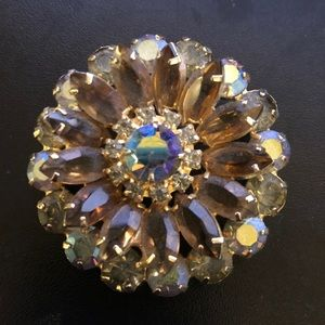 Vintage Crystal Sunflower Brooch